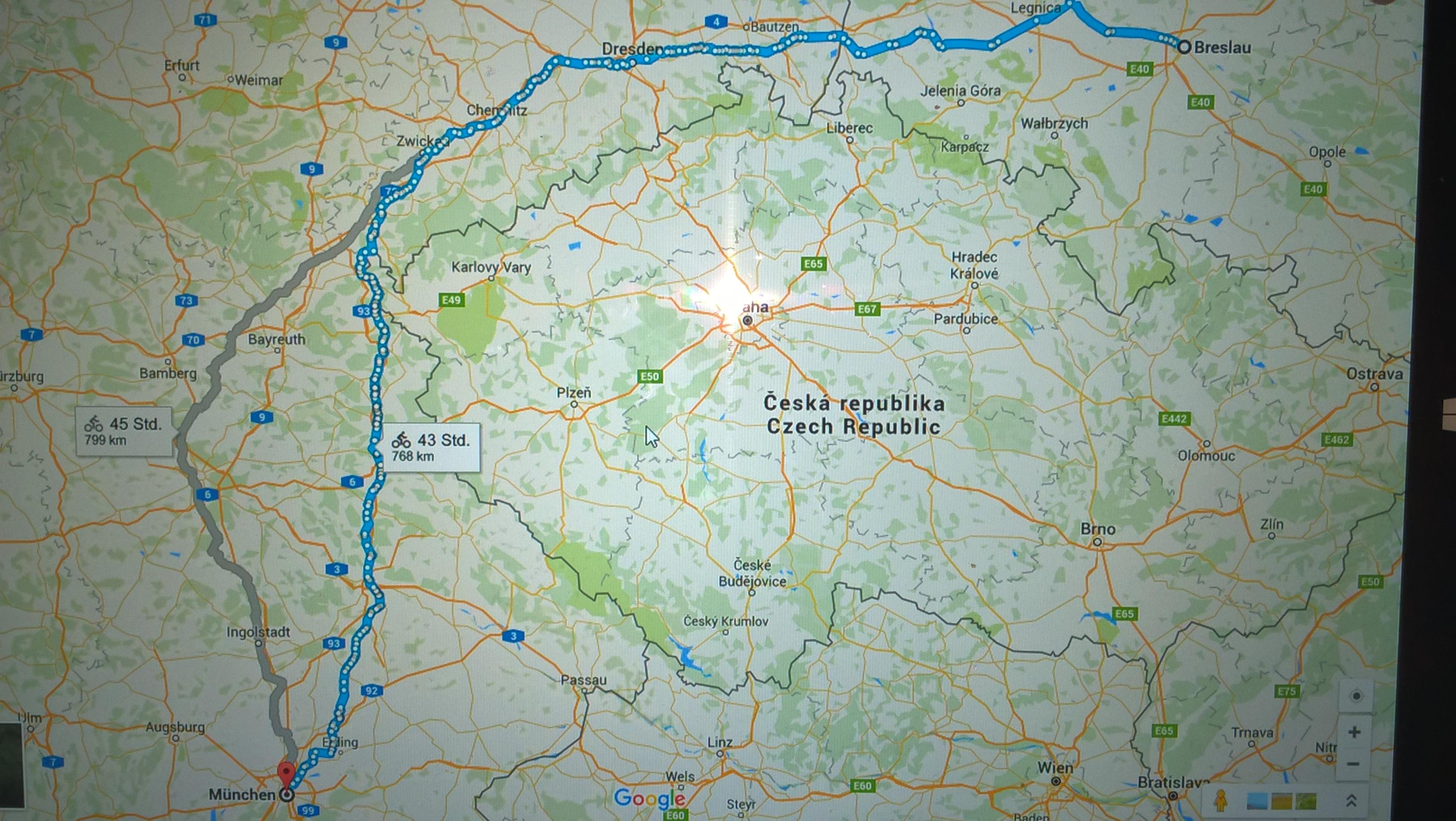 Die Tour mit der Rückreise bis ganz daheim nach München.